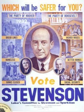 Poster de Stevenson en su campaña de 1952