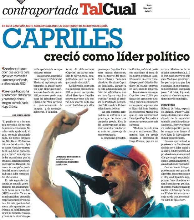 Entrevista de Ana María López a Justo Morao / Diario Tal Cual / 8 de abril de 2013 - contraportada -