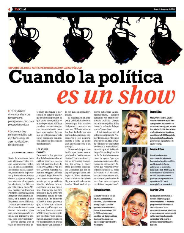 Cuando la política es un show / Entrevista a Justo Morao / Diario Tal Cual / 19 de agosto de 2013