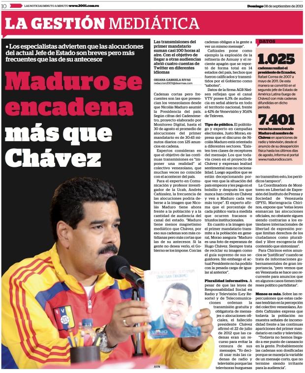 """""""Maduro se encadena más que Chávez"""" / Entrevista de Oriana Rivas a Justo Morao / Diario 2001 del 8 de septiembre de 2013."""