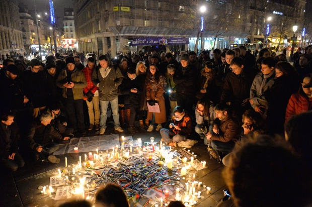 Tribute To Victims Killed During Attack At Satirical Magazine Charlie Hebdo At Place De La Republique In Paris