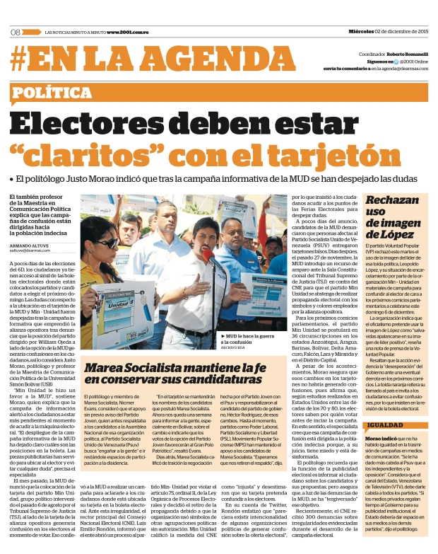 Diario 2001 / 02-12-2015 / Armando Altuve/ Justo Morao